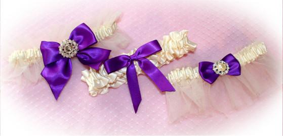 Ivory and Purple Wedding Garters