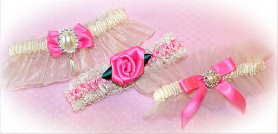 Ivory and Pink Wedding Garters