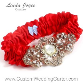 "Custom Wedding Garter: Red Antique Jewel Beaded Wedding Garter ""Bijou 01"" Antique"