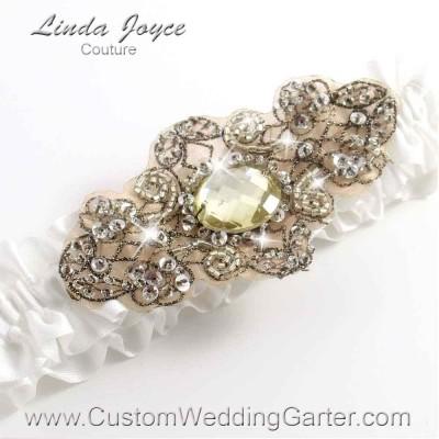 "Off White Antique Jewel Beaded Wedding Garter ""Bijou 01"" Antique"