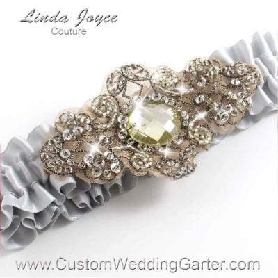 "Shell Gray Antique Jewel Beaded Wedding Garter ""Bijou 01"" Antique"