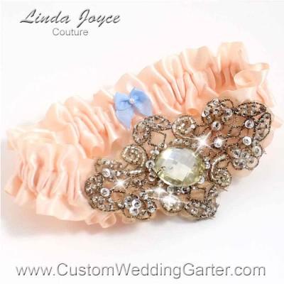 """Nude Antique Jewel Beaded Wedding Garter """"Bijou 01"""" Antique"""