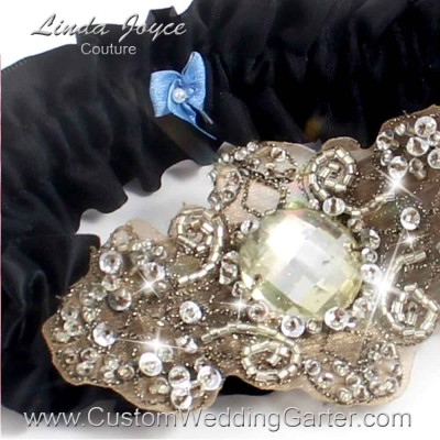 """Black Antique Jewel Beaded Wedding Garter """"Bijou 01"""" Antique"""