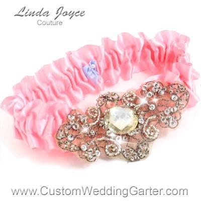 """Peony Pink Antique Jewel Beaded Wedding Garter """"Bijou 01"""" Antique"""
