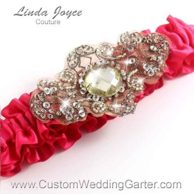"Camellia Rose Pink Antique Jewel Beaded Wedding Garter ""Bijou 01"" Antique"
