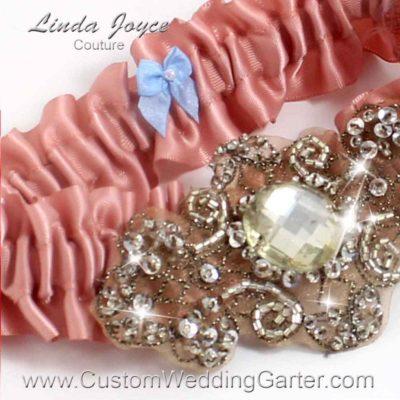 """Sweet Nectar Antique Jewel Beaded Wedding Garter """"Bijou 01"""" Antique"""