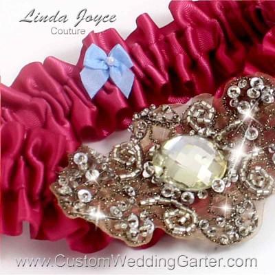 """Rosewood Antique Jewel Beaded Wedding Garter """"Bijou 01"""" Antique"""