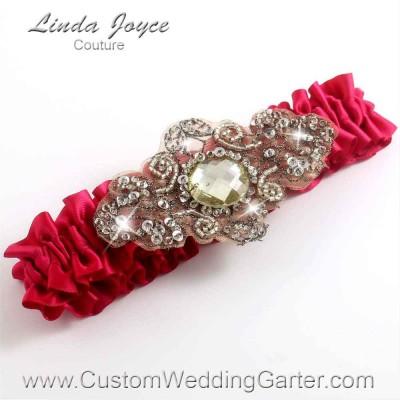 """Beauty Antique Jewel Beaded Wedding Garter """"Bijou 01"""" Antique"""