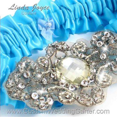 """Turquoise Antique Jewel Beaded Wedding Garter """"Bijou 01"""" Antique"""