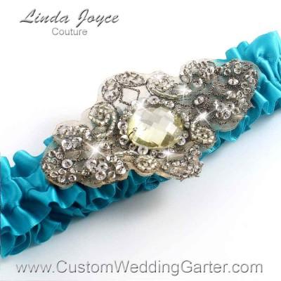 "Tornado Blue Antique Jewel Beaded Wedding Garter ""Bijou 01"" Antique"