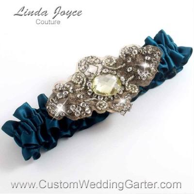 """Teal Antique Jewel Beaded Wedding Garter """"Bijou 01"""" Antique"""