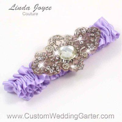 "Lavender Purple Antique Jewel Beaded Wedding Garter ""Bijou 01"" Antique"