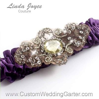 """Amethyst Antique Jewel Beaded Wedding Garter """"Bijou 01"""" Antique"""