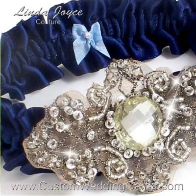 """Navy Blue Antique Jewel Beaded Wedding Garter """"Bijou 01"""" Antique"""