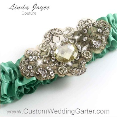 "Celadon Green Antique Jewel Beaded Wedding Garter ""Bijou 01"" Antique"