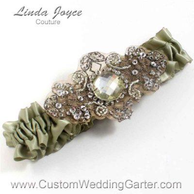 "Soft Pine Green Antique Jewel Beaded Wedding Garter ""Bijou 01"" Antique"