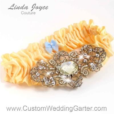 "Chamois Antique Jewel Beaded Wedding Garter ""Bijou 01"" Antique"