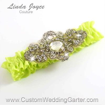 """Pineapple Antique Jewel Beaded Wedding Garter """"Bijou 01"""" Antique"""