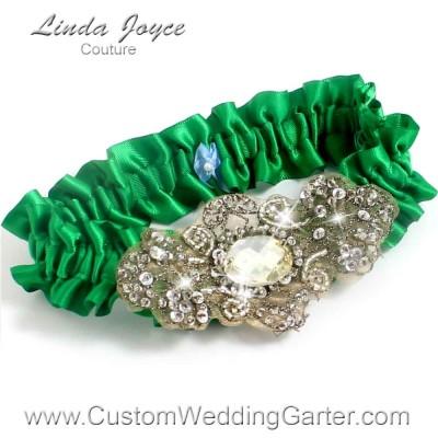 """Emerald Green Antique Jewel Beaded Wedding Garter """"Bijou 01"""" Antique"""