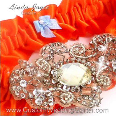 """Torrid Orange Antique Jewel Beaded Wedding Garter """"Bijou 01"""" Antique"""