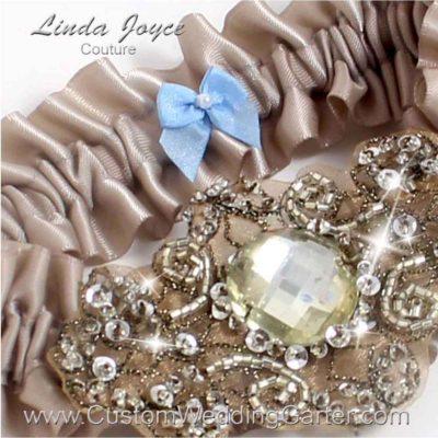 "Taupe Antique Jewel Beaded Wedding Garter ""Bijou 01"" Antique"