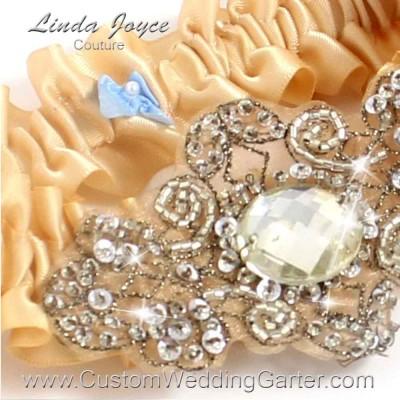 "Raw Silk Antique Jewel Beaded Wedding Garter ""Bijou 01"" Antique"