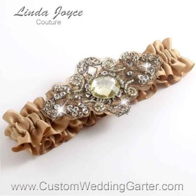 """Desert Sand Antique Jewel Beaded Wedding Garter """"Bijou 01"""" Antique"""
