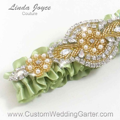 """Lime Juice Green and Gold Pearl Beaded Wedding Garter """"Charlotte 01"""" Gold"""