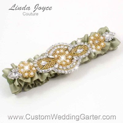 """Soft Pine and Gold Pearl Beaded Wedding Garter """"Charlotte 01"""" Gold"""