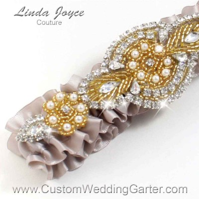 """Carmandy and Gold Pearl Beaded Wedding Garter """"Charlotte 01"""" Gold"""