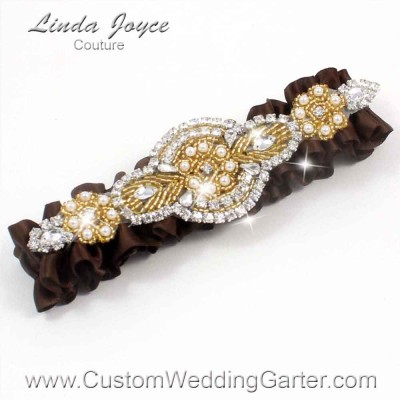 """Coffee Brown and Gold Pearl Beaded Wedding Garter """"Charlotte 01"""" Gold"""