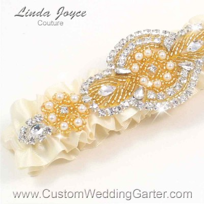 """Ivory and Gold Pearl Beaded Wedding Garter """"Charlotte 01"""" Gold"""
