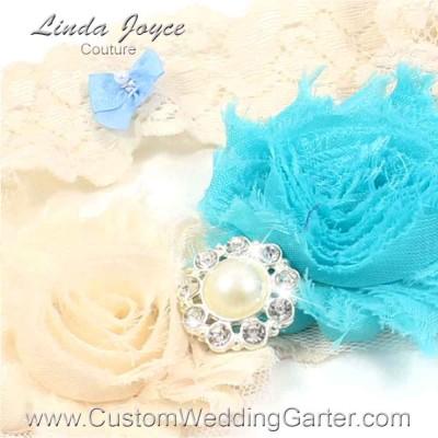 "Aqua, Cream and Ivory Vintage Shabby Rose Stretch Lace Wedding Garter ""Emma 30"" Silver"