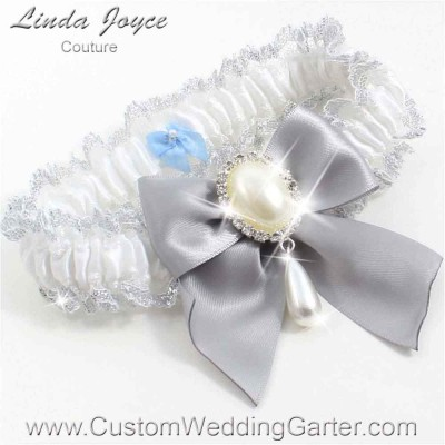 "Grey and White Wedding Garter ""Michaela 04"" Silver"