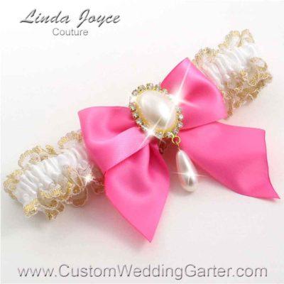 "Persian Pink and White Wedding Garter ""Michaela 04"" Gold"
