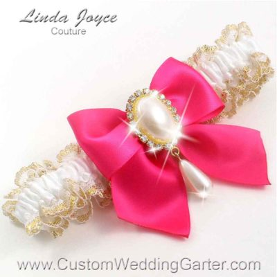 "Hot Magenta and White Wedding Garter ""Michaela 04"" Gold"