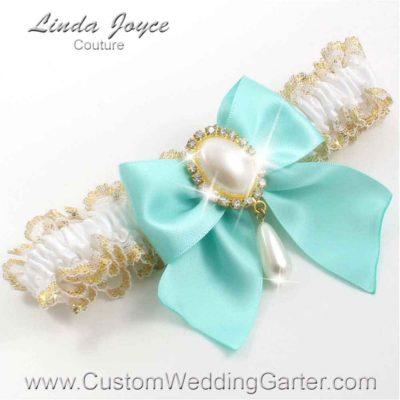 "Aqua and White Wedding Garter ""Michaela 04"" Gold"
