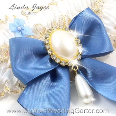 "Smoke Blue and White Wedding Garter ""Michaela 04"" Gold"