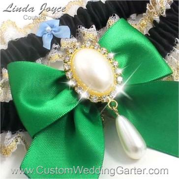 "Custom Wedding Garter: Black, Emerald Green and Gold ""Michaela 04"""