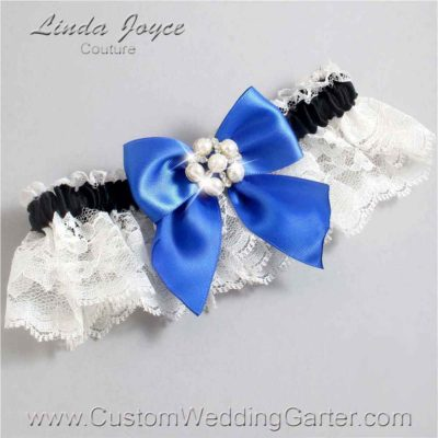 """Royal Blue, Black, and Ivory Lace Pearl Bridal Garter """"Monica 10"""" Silver"""