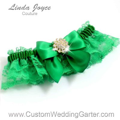 """Emerald Green and Kelly Green Lace Wedding Garter """"Penny 10"""" Gold"""