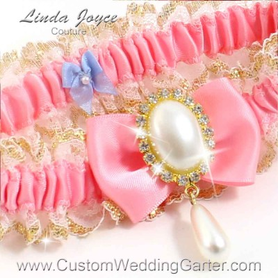 """Peony Pink Victorian Lace Wedding Garter """"Victoria 04"""" Gold"""