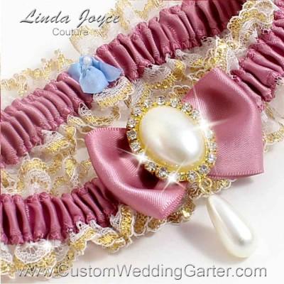 "Rosy Mauve Victorian Lace Wedding Garter ""Victoria 04"" Gold"