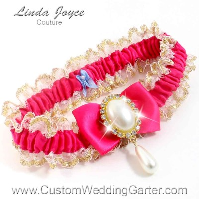 """Hot Magenta Victorian Lace Wedding Garter """"Victoria 04"""" Gold"""