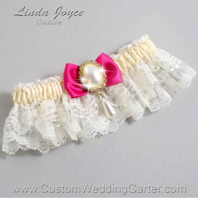 "Azalea and Ivory Lace Wedding Garter ""Victoria 10"" Gold"