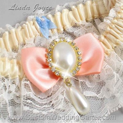 """Moonstone and Ivory Lace Wedding Garter """"Victoria 10"""" Gold"""