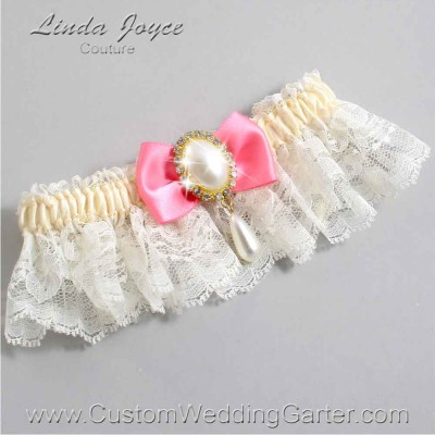 """Coral Rose and Ivory Lace Wedding Garter """"Victoria 10"""" Gold"""