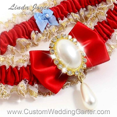 "Red Victorian Lace Wedding Garter ""Victoria 04"" Gold"