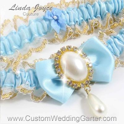 "Alice Blue Victorian Lace Wedding Garter ""Victoria 04"" Gold"