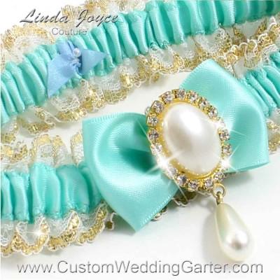 """Aqua Victorian Lace Wedding Garter """"Victoria 04"""" Gold"""